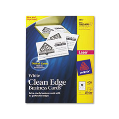 AVE5877 Clean Edge Laser Business Cards, 2 x 3 1/2, White, 10/Sheet, 400/Box AVE 5877