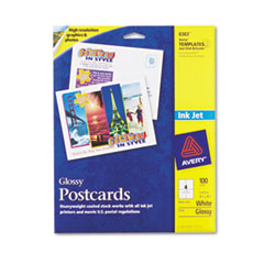 AVE8383 Inkjet Glossy Photo-Quality Postcards, 4-1/4 x 5-1/2, Four per Sheet, 100/Pack AVE 8383