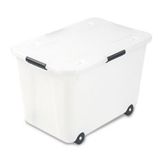 AVT34009 Rolling Storage Box, Letter/Legal, 15-Gallon Size, Clear AVT 34009