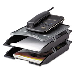 IVR10150 Telephone Stand with Stackable Letter Size Paper Trays, Black/Gray IVR 10150