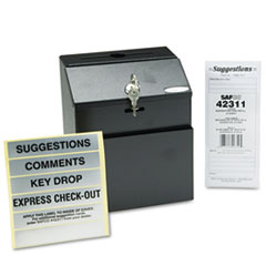 SAF4232BL Steel Suggestion/Key Drop Box with Locking Top, 7 x 6 x 8 1/2 SAF 4232BL