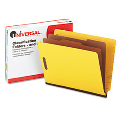 UNV10319 Pressboard End Tab Classification Folders, Letter, Six-Section, Yellow, 10/Box UNV 10319