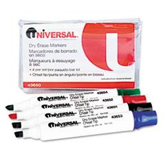 UNV43650 Dry Erase Markers, Chisel Tip, Assorted, 4/Set UNV 43650