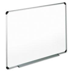 UNV43725 Dry Erase Board, Melamine, 72 x 48, White, Black/Gray Aluminum/Plastic Frame UNV 43725
