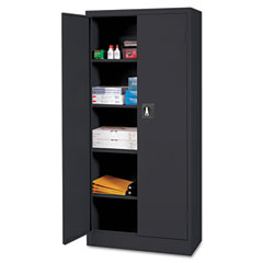 Space Mizer Storage Cabinet, 4 Fixed Shelves, 30w x 15d x 66h, Black