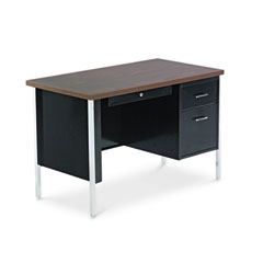 Single Pedestal Steel Desk, 45w x 24d x 29-1/2h, Walnut/Black