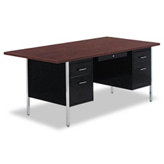Double Pedestal Steel Desk, 72w x 36d x 29-1/2h, Walnut/Black