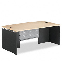 Seville Series Bow Front Desk Shell, 72w x 42d x 29h, Maple/Charcoal