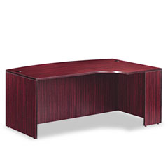 Valencia Series Right-Hand Porkchop Desk Shell, 72w x 48d x 29-1/2h, Mahogany