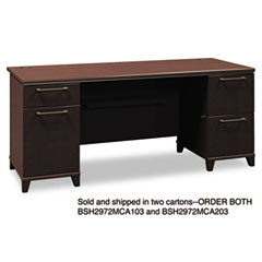 Enterprise Double Pedestal Desk, 70-1/8w x 28-1/2d x 30h, Mocha Cherry, Carton 2
