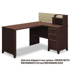 Enterprise Corner Desk, 60w x 47d x 41-3/4h, Mocha Cherry, Carton 2