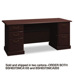Syndicate Double Pedestal Desk, 72-1/4w x 30d x 30h, Mocha Cherry, Carton 2