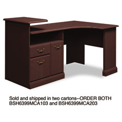 Syndicate Corner Desk, 62-74w x 42d x 34-3/4h, Mocha Cherry, Carton 2