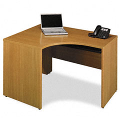 Quantum Series Right Corner Desk Shell, 47-3/8w x 42-1/8d x 30h, Modern Cherry