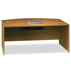 Quantum Series Bow Front Desk Shell, 71-3/8w x 35-1/2d x 30h, Modern Cherry