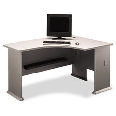 Series A Right L-Bow Desk, 59-3/8w x 43-3/8d x 29-7/8h, Dove Gray