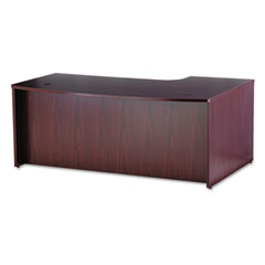 BL Series Bow Front Desk Shell, Left Corner Extension, 72w x 48d, Bourbon Cherry