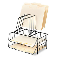 Double Tray with Step File, Eight Sections, Wire, 13 7/8 x 10 1/8 x 14, Black