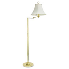 Brass Swing Arm Incandescent Floor Lamp, 58 Inches High