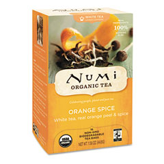 Organic Teas and Teasans, 1.58 oz, White Orange Spice, 16/Box