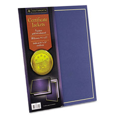 Certificate Jackets, 12 x 9-1/2, Navy/w Gold Border, 5/Pack