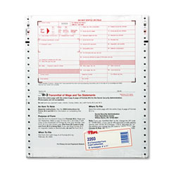 W-3 Tax Form, Lttr, 2-Part Carbonless, 10 Continuous Forms