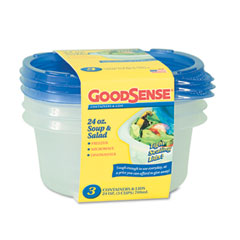 Soup and Salad Container, 24 oz, Clear, 3/Pack