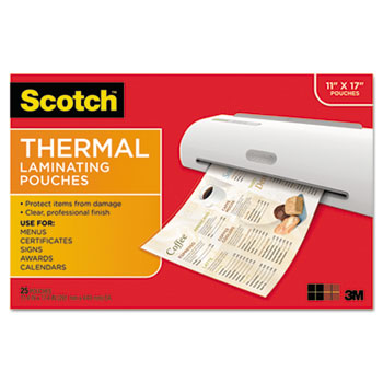 Menu Size Thermal Laminating Pouches 3 Mil 17 1 2 X 11 1 2 25 Per Pack Wb Mason