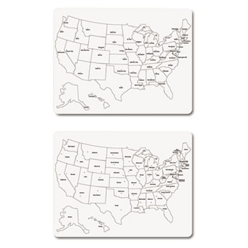 THE CHENILLE KRAFT COMPANY TwoSided US Map Whiteboard X - Us map whiteboard