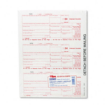Tops Business Forms 1099 Int Tax Forms 5 Part 8 X 5 12 Inkjet