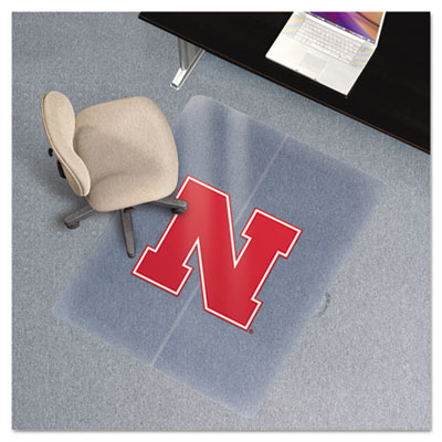 Collegiate Chair Mat for Low Pile Carpet, 36 x 48, Nebraska Cornhuskers