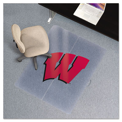Collegiate Chair Mat for Low Pile Carpet, 36 x 48, Wisconsin Badgers
