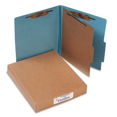Pressboard 25-Point Classification Folders, Letter, 4-Section, Sky Blue, 10/Box