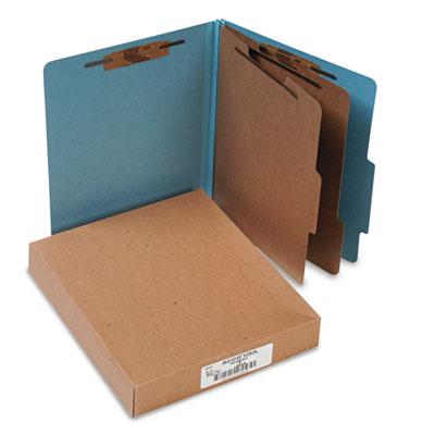 Pressboard 25-Point Classification Folders, Letter, 6-Section, Sky Blue, 10/Box