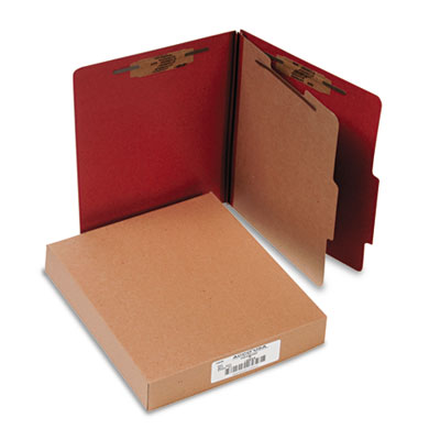 Pressboard 25-Point Classification Folder, Letter, 4-Section, Earth Red, 10/Box