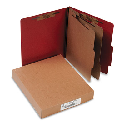 Pressboard 25-Point Classification Folder, Letter, 6-Section, Earth Red, 10/Box