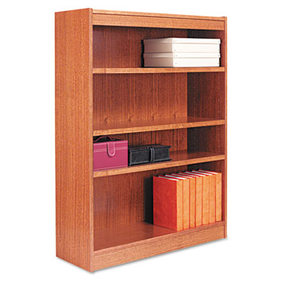 Square Corner Bookcase, Wood Veneer, 4-Shelf, 36 x 12 x 48, Medium Oak