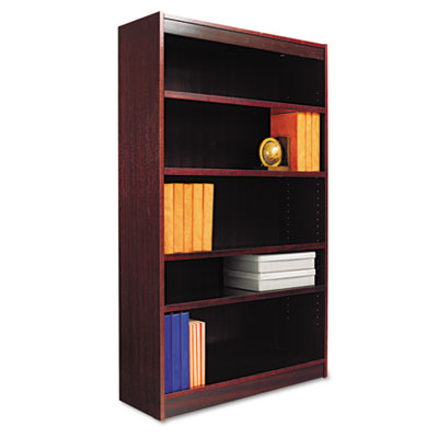 Square Corner Bookcase, Wood Veneer, 5-Shelf, 36w x 12d x 60h, Mahogany - ALEBCS56036MY