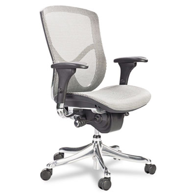 Alera EQ Series Ergonomic Multifunction Mid-Back Mesh Chair  Titanium  Black Base