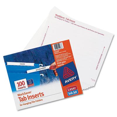 Laser/Inkjet Hanging File Folder Inserts, 1/3 Tab, 3 1/2 in, White, 100/Pack