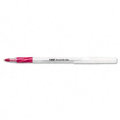 Round Stic Grip Ball Pen, Red Ink, Fine Point
