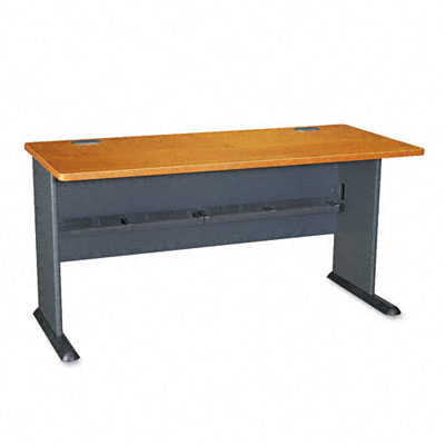 Series A Workstation Desk, 60w x 26-7/8d x 29-7/8h, Natural Cherry/Slate Gray