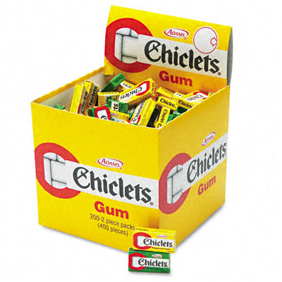 Chiclets Chewing Gum, Peppermint or Spearmint, 2 Pieces/Pack, 200 Packs/Box - CDB10849