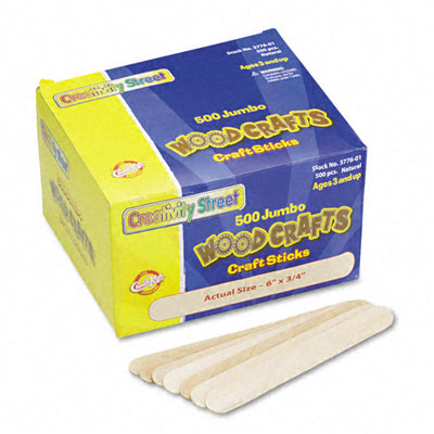 Natural Wood Craft Sticks, Jumbo Size, 6 x 3/4, Wood, Natural Wood, 500/Box - CKC377601