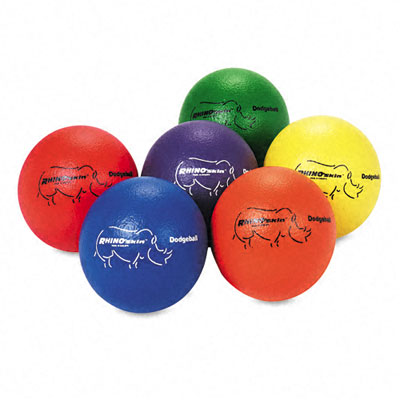 Dodge Ball Set, Rhino Skin, Assorted Colors, 6 Balls/Set - CSIRXD6SET