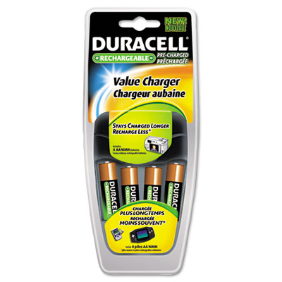 Value Charger, 4 Pre-Charged Rechargeable AA NiMH Batteries - DURCEF14NC