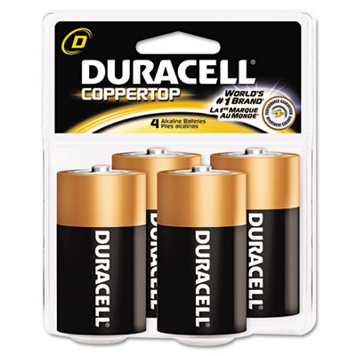 Coppertop Alkaline Batteries, D, 4/Pack - DURMN1300R4Z