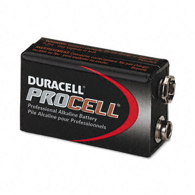 Procell Alkaline Battery, 9V, 12/Box - DURPC1604BKD