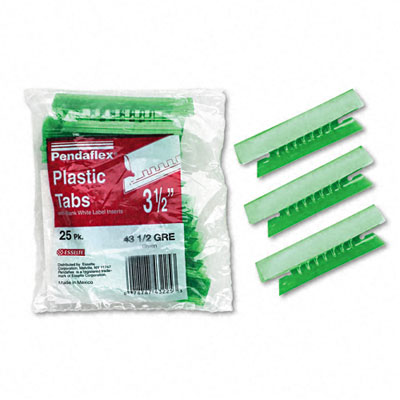Hanging File Folder Tabs, 1/3 Tab, 3 1/2 in, Green Tab/White Insert, 25/Pack
