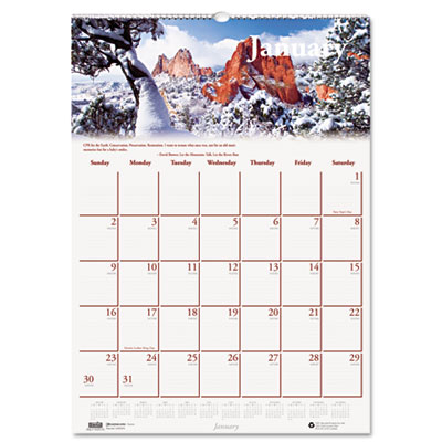 Scenic Beauty Monthly Wall Calendar, 12 x 16-1/2